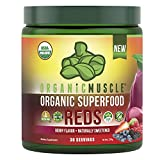 Organic Muscle Superfood Reds   USDA Certified Organic Red Juice Powder   for Energy, Focus & Digestion   Vegan, Keto, Non-GMO   Berry Flavor   30 Servings