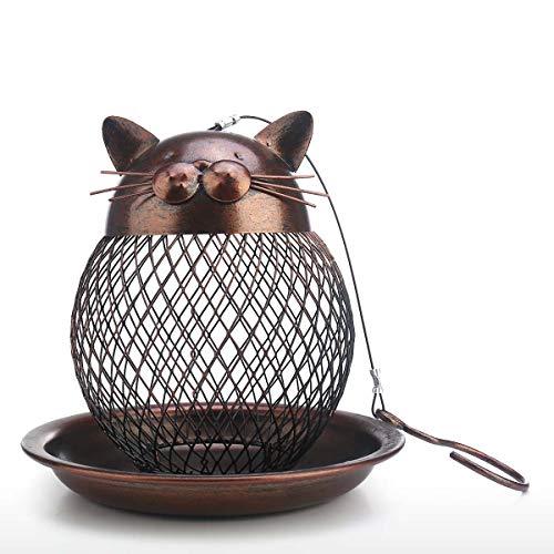 Tooarts Vogelfutterstation in Katzenform | Futterspender für Vögel | Vintage Gartendeko | Outdoor Dekoration | Braun