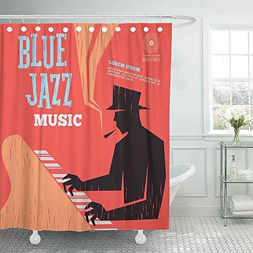AllenPrint Cortina De Bañera,Orquesta Piano Blue Jazz Música Banda Bajo Cartelera Concierto Cortinas De Baño Cortinas De Baño con Estampado Personalizado 183x183cm