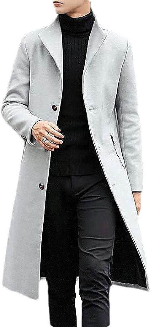TIMOTHY BURCH Men Overcoat Wool Blend Single Breasted Winter Solid Long Pea Coat Jacket