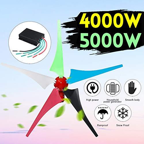 TQ 4000W 5000W Home Windturbine Generator 5-Klingen-12V / 24V Windgenerator für Haushalts-Straßenbeleuchtung + Controller-Montagezubehör,4000w,12V