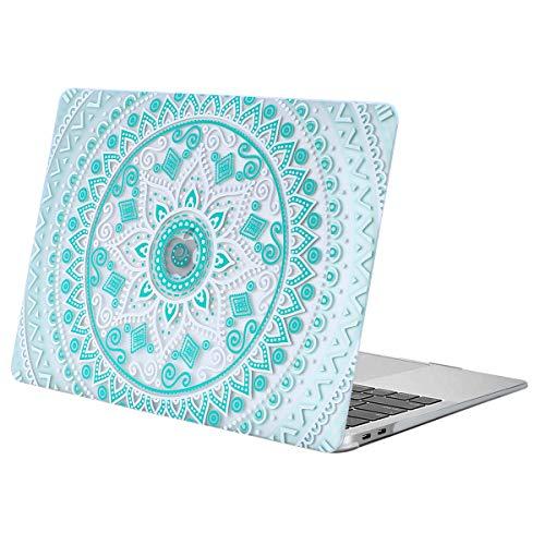 MOSISO Funda Dura Compatible con MacBook Air 13 Pulgadas 2019 2018 A1932 con Pantalla Retina, Ultra Delgado Carcasa Rígida Protector de Patrón de Plástico Cubierta, Mandala Verde Blanco