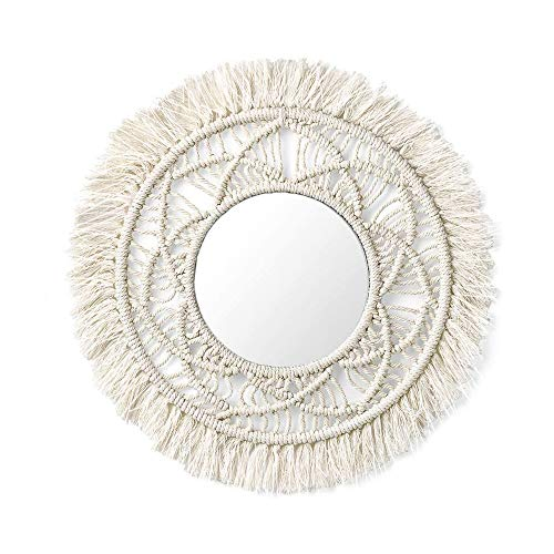 Fnice Hanging Wall Mirror with Macrame Handmade Fringe Boho Decor Round Decoration Living Room Bedroom Corridor Apartment Baby Home Decor (02-Wall Mirror)
