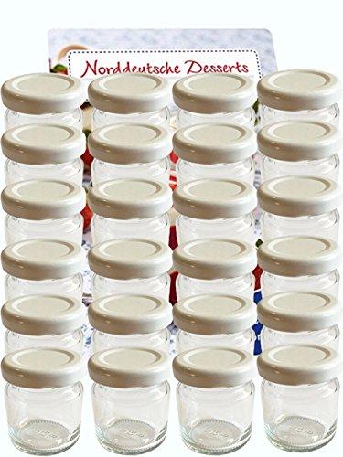 hocz 100er Set Sturzgläser Mini Gläser 53 ml Deckelfarbe Weiß to 43 inkl. 100 Etiketten zum Beschriften Rundgläser Weiß Marmeladengläser Einweckgläser Honig Einmachgläser Portionsgläser Imker
