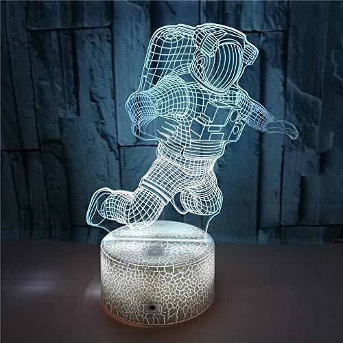 FREEZG Lámpara de noche para niños Spaceman niños creatividad Luces nocturnas Ilusión 3D para niños con mando a distancia y 7 colores cambiantes y función regulable regalo de cumpleaños para jóvenes