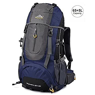 Vbiger Hiking Backpack Water Resistant Daypack 65+5L for Camping, Trekking and Mountain Climbing (Dark Blue, 65L)