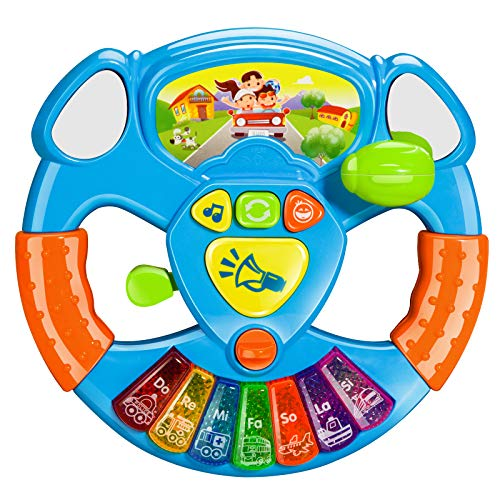 Best Deals! BeebeeRun Baby Musical Toys Steering Wheel, Toddler Electronic Light Up Keyboard Learnin...