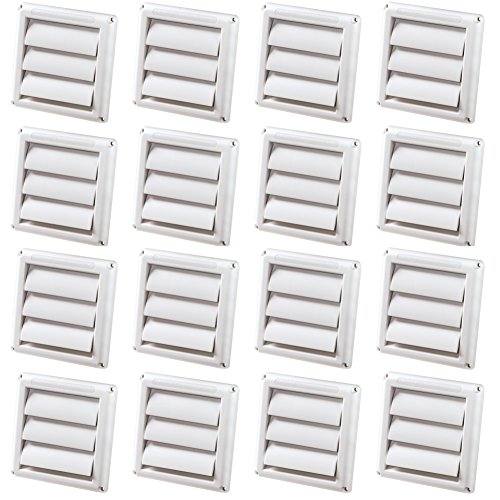 (16 Pack) - Deflecto Supurr-Vent Louvered Outdoor Dryer Vent Cover, 4 Inches Hood, White (HS4W/18)