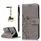 Badalink Case Compatible with Samsung Galaxy S6 Case (Non-Edge), Fashion Wallet Premium PU Leather Embossed Flowers Butterfly Flip Cover Hand Strap & 3D Cute Elephant Dust Plug & Stylus Pen - Gray