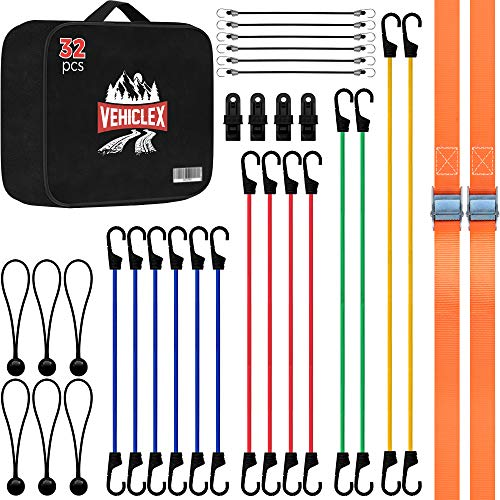 Vehiclex Bungee Cords & Cam Buckle Straps, 32 PCS Tie-Downs Assortment – Multiple Sizes and Uses – Mini Cords & Bungee Balls, Tarp Clips & A Handy Carrying Bag
