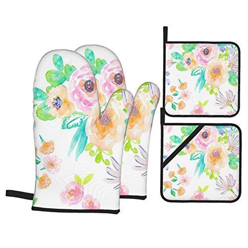 HaiYI-ltd Juego de 4 manoplas de horno y soportes para ollas, Indy Bloom Flamingo Verano Florals guantes de cocina y ollas antideslizantes guantes de cocina para cocinar hornear y asar ⭐