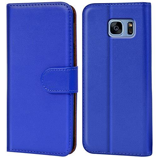 Verco Custodia per Samsung Galaxy S7, Case per Galaxy S7 Cover PU Pelle Portafoglio Protettiva, Blu