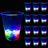 16oz Glowing Party Cups for Indoor Outdoor Party Event Fun, Pack with Flashing color Bright Glow-In-The-Dark Colors for House Parties Birthdays Concerts Weddings BBQ Beach DJ Holidays