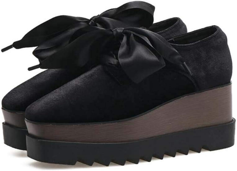 Pump Bowknot Platform shoes Women 7Cm Wedge Heel 4.5Cm Waterproof Platform Muffle shoes Velvet Dress shoes EU Size 34-39