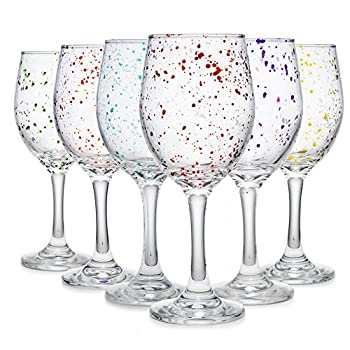 Carnival Color Paint Splatter Stemmed For Red Or White Wine Cocktail Martini Margarita Brandy Scotch- Glass Drinking Cups 10 OZ Party Color Set of 6 Glasses Great For Countertop & Wine Rack