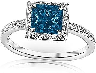 1.3 Carat t.w 14K White Gold Victorian Halo Style Square Shaped Pave Set Round Diamond Engagement Ring w/ a 1 Carat Princess Cut Blue Diamond Heirloom Quality