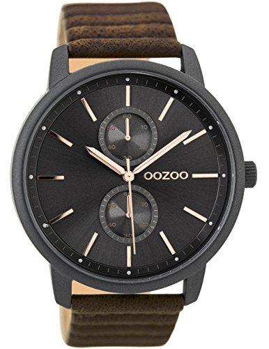 Oozoo Herrenuhr mit Lederband 45 MM Black/Silbergrau/Dunkelbraun C9452