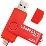 LEIZHAN 32GB メモリ・フラッシュドライブ USB コンピュータ マイクロ Uディスク ペンドライブ ブラック 携帯用 回転式 (32GB, 赤)
