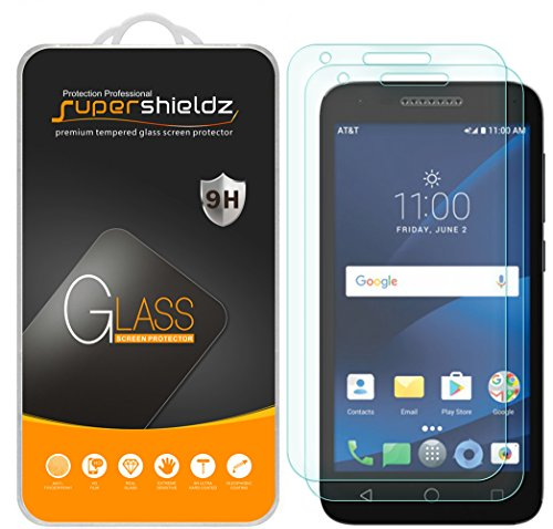 (2 Pack) Supershieldz Designed for Alcatel IdealXCITE and Alcatel Raven LTE Tempered Glass Screen Protector, Anti Scratch, Bubble Free