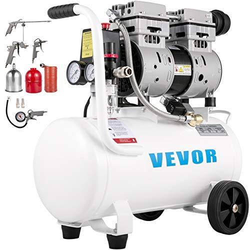 VEVOR Compresor de Aire Ultra Silencioso 25 L Ultra Quiet Air Compressor 750 W Compresor de Aire Ultra Silencioso y sin Aceite, 230 V 50 Hz, Volumen de Escape 5,2 CFM, 60 dB, Con Accesorios Completos