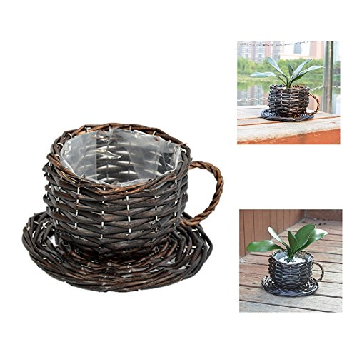YOSPOSS Pot de fleurs Panier de fleurs Willowerwork étanche Pot de fleurs, Craft Tasse Paille décoratifs Pot de fleurs Panier de fleurs 1-Pack