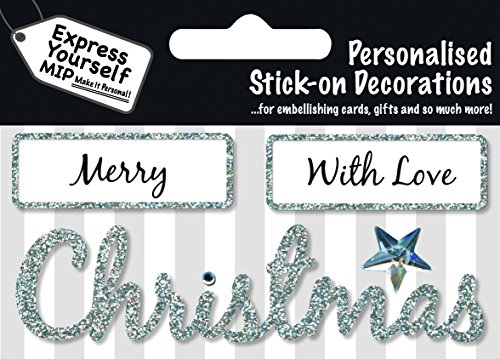 Silver Merry Christmas DIY Greeting Card Toppers Personalise Handmade Cards