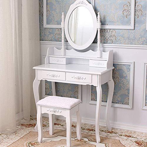Gmnoy con Espejo y Taburete Tocador Desmontable 4 cajones Mesa de Maquillaje Escritorio Juego de tocador para Dormitorio para niñas Mujeres H136 X W75 X D40 Cm