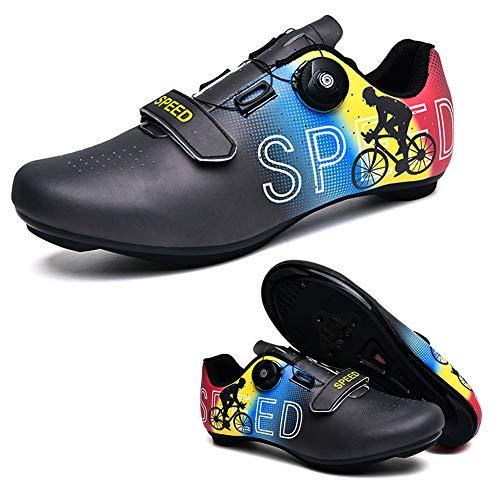Zapatillas de Ciclismo, Zapatillas de Ciclismo de Carretera, Zapatillas de Ciclismo para Mujer y Hombre,Negro,EU44 UK8.5