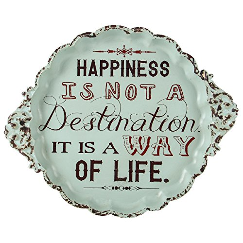 NIKKY HOME Happiness is Not a Destination It is a Way Life Small Vintage Metal Sign Decorative Plate Display