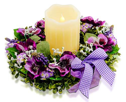Challenge Accept Türkranz Wandkranz, handgefertigte Kunstblumendeko für Zuhause, Türen, Blumenkranz - mit LED Kerze - Stiefmütterchen, Lavendel