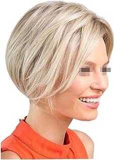 Pelucas de cabeza completa para mujer cabello liso corto dorado claro de 10 para el vestido diario Cosplay Party Hairpiece