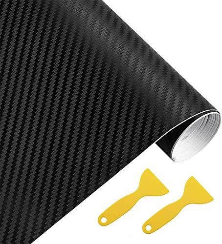 Rollo de papel de vinilo de fibra de carbono 3D, 30 cm x 152 cm, rollo de papel de envoltura de PVC negro mate, impermeable y sin burbujas, interior del coche de bricolaje, efecto 3D de motocicleta