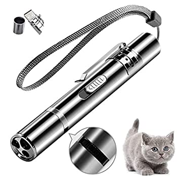 Cat Laser Toy Red Dot LED Light Pointer Interactive Cat Toys for Indoor Cats Dog Long Range 3 Mode Lazer Projection Playpen for Kitten Outdoor Pet Chaser Tease Stick Training Exercise,USB Recharge