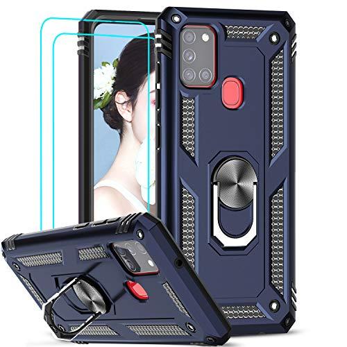 LeYi Funda Samsung Galaxy A21S con [2-Unidades] Cristal Vidrio Templado,Armor Carcasa con 360 Grados Anillo iman Soporte Hard PC Silicona TPU Bumper Antigolpes Case para Movil A21S,Azul