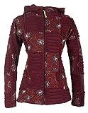Vishes - Alternative Bekleidung - Bestickte Damen Blumen Patchworkjacke Hoodie Baumwolle Zipfelkapuze dunkelrot 38-40