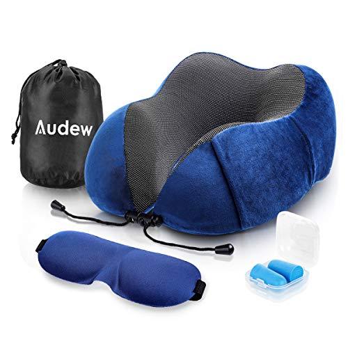 Audew Almohada Cervical de Espuma Viscoelastica, Cojin Viaje para Cuello y Cabeza 360° Soporte, Almohada Avion con Antifaz y Tapones para Dormir y Bolsa Transporte, Azul