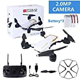 SIAMNUI Mini Drone avec caméra, 3 Batterie modulaire FPV Quadcopter With720P Grand Angle caméra Live Video Mobile APP Control Pliable Altitude Hold Mode Autoie RC hélicoptère RTF Noir Blanc,White