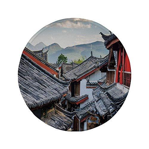 Rutschfreies Gummi-Rundmaus-Pad antike China-Dekorationen Dächer von Häusern Alte chinesische Fliesen Landschaftsansicht Touristische Stadt Dekorativ mehrfarbig 7.9