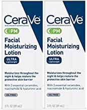 CeraVe Facial Moisturizing Lotion PM   3 Ounce (Pack of 2)   Ultra Lightweight, Night Face Moisturizer   Fragrance Free
