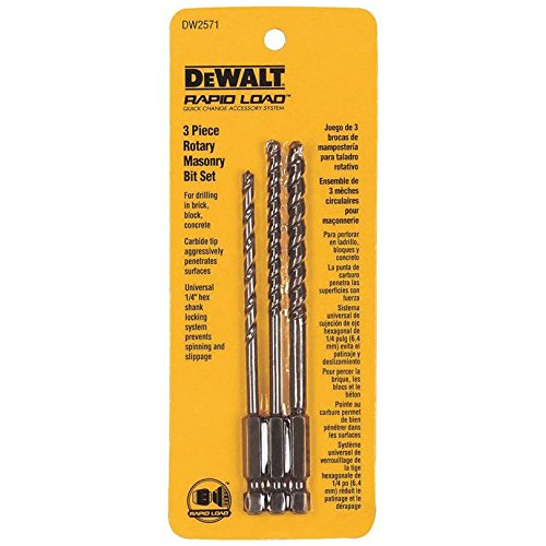 Dewalt Rotary Masonry Drill Bit Set Concrete 1/4