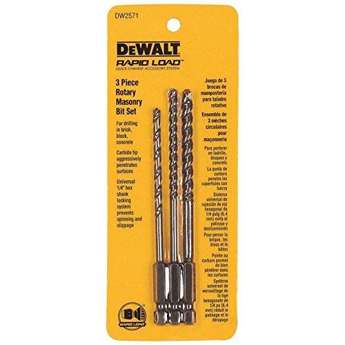 Dewalt Rotary Masonry Drill Bit Set Concrete 1/4', 3/16', 5/32' 1/4' Hex Carded
