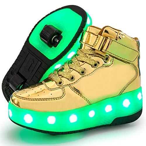 Charmstep Unisex Kinder LED Roller Schuhe mit USB Aufladen Doppelräder Leuchten Skateboardschuhe Sportarten Turnschuhe für Jungen Mädchen,Gold,32 EU