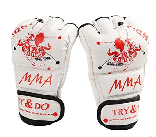 BLANCHO BEDDING Gants Blancs Blancs froids de Formation de Mitaines de MMA Demi-Doigt pour la Boxe, Le Muay thaï, Le Kickboxing
