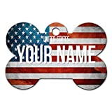 BleuReign(TM Personalized Custom Name Country License USA Plate Bone Shaped Metal Pet ID Tag with Contact Information