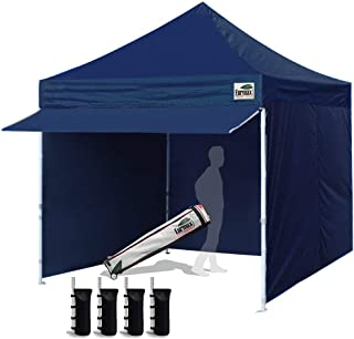 Eurmax 10 x 10 Pop up Canopy Commercial Tent Outdoor Party Canopies with 4 Removable Zippered Sidewalls and Roller Bag Bonus 4 Canopy Sand Bags & 24 Squre Ft Extended Awning(Navy Blue)