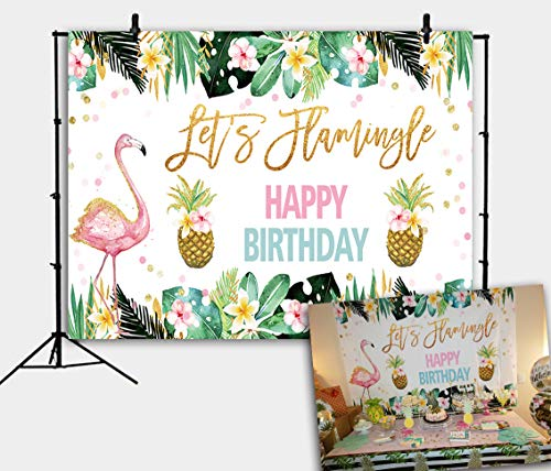 Botong 7x5FT Let's Flamingle Party Backdrop Pineapple Hawaiian Tropical Birthday Photography Background Cake Table Decorations Bridal Baby Shower Kids Photo Studio Booth Props