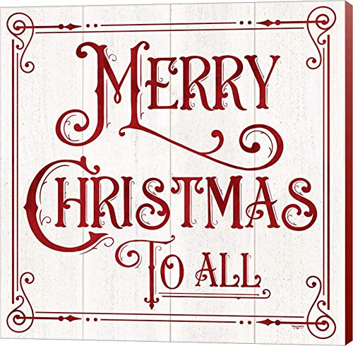 Vintage Christmas Signs IV-Merry Christmas by Tara Reed Canvas Art Wall Picture, Museum Wrapped with Colonial Red Sides, 12 x 12 inches