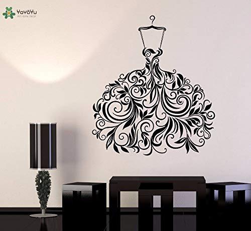 Vinyl muur sticker mooie bloem rok salon herenkapper interieur kamer kunstenaar huisdecoratie sticker 57x65cm