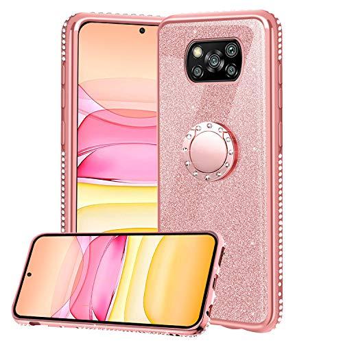 Funda para Xiaomi Poco X3 NFC/ X3 Pro, Glitter Brillante Diamante Carcasa Soporte Magnético de 360 Grados Anillo Giratorio Slim Fit Suave Silicona Gel TPU Anti-Choques Protectora Carcasa - Oro Rosa