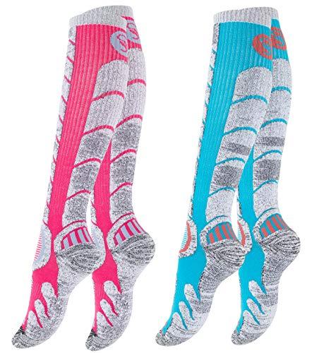 STARK SOUL 2 Paar Ski & Snowboard Socken mit Spezialpolsterung für Damen und Herren | Farbe: Pink/Türkis, Größe: 39-42